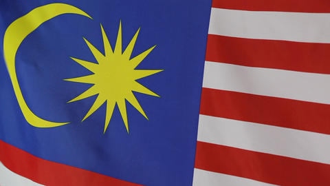 Closeup of national flag of Malaysia Footage