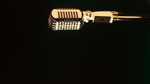 Retro microphone on red and green Stock Video Footage