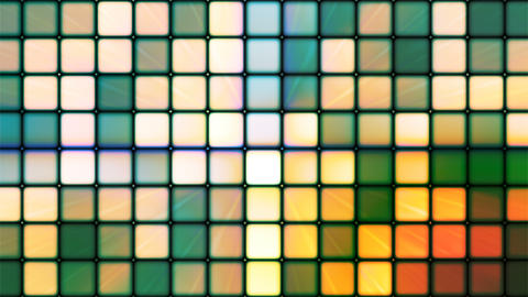 Broadcast Twinkling Hi-Tech Cubes, Green Orange, Abstract, Loopable, 4K Animation