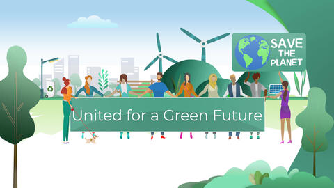 Crowd of People United for a Green Energy Efficient Future with Renewable Sources Animation