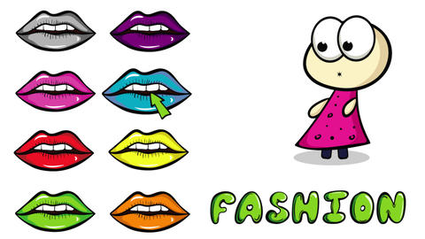 Lips colorful and fashion white Animation