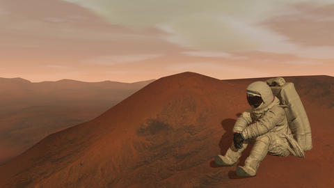 Colony on Mars. Astronaut sitting on Mars and admiring the scenery. Exploring Footage
