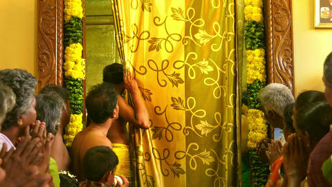 Interior of the Hindu Temple with People Praying in Hindu Temple Live Action