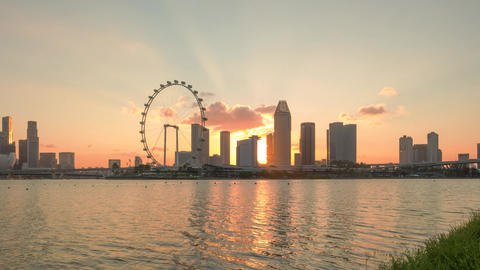 Singapore skyline beautiful sunset view from bay from day to night time lapse Live Action