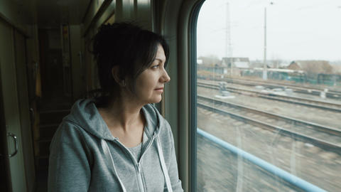Attractive woman in the train Footage