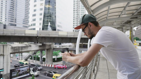 Young caucasian man using smart phone Footage