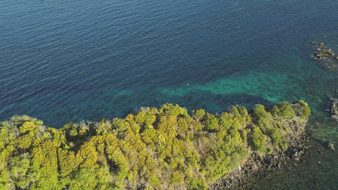 Turquoise sea water and green cliff aerial landscape.…, Live Action