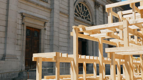 tracking shot from wooden scaffolding at church, Annecy France Footage