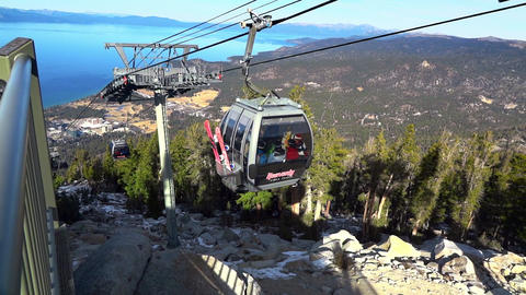 Gondolas in Lake Tahoe, California. Arriving at end point Heavenly cable car station, waiting 25th Live Action
