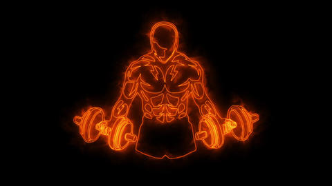 Orange Fitness Gym Animated Logo with Reveal Effect Videos animados