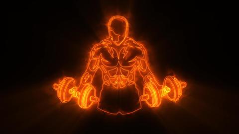 Orange Fitness Gym Animated Logo with Reveal Effect & Light Rays Videos animados