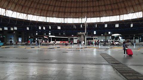 Macedonia KTEL Bus Station platforms in Thessaloniki, Greece Live Action