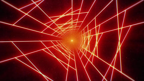 Bright Red Grid Tunnel in Space Animation