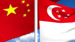 China Flag and Singapore Flag, Stock Animation