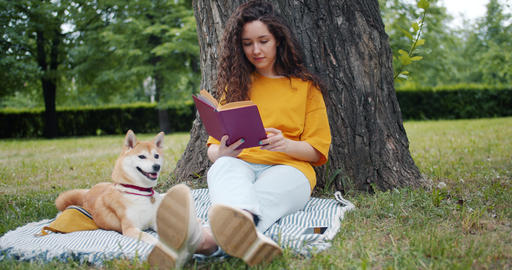 Pretty curly-haired girl student reading book sitting in park on lawn with dog Footage