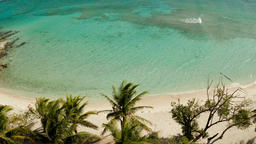 torpical island with white sandy beach, top view Photo