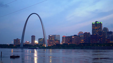 St. Louis skyline in the evening Footage