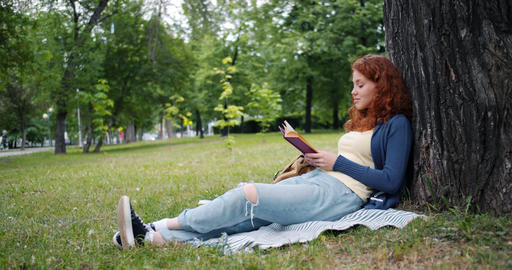 Beautiful young woman reading book sitting on blanket under tree in park smiling Live Action