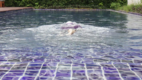 Swimmer depart diving freestyle swimming pool Footage
