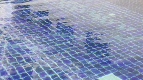Blue swimming pool mosaic tile floor Footage