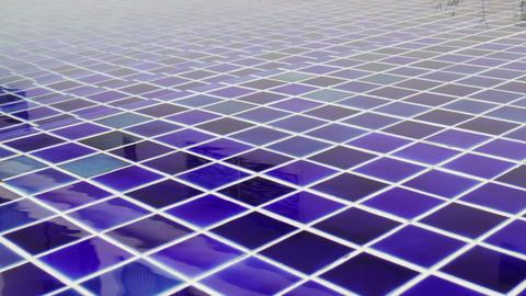 Blue mosaic tile floor of swimming pool Footage