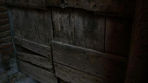 wooden door in the historic center of Nemi, Roman castles Footage