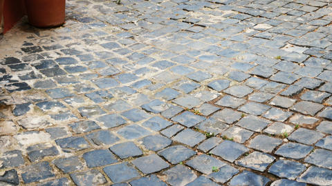 sidewalk in the historic center of Nemi, Roman castles Footage