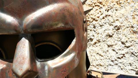 gladiator's helmet, faithful reproduction Footage
