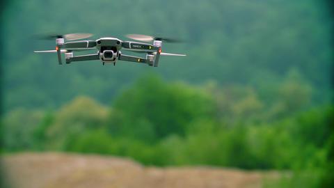Russia, Krasnodar June 18, 2019: Slow Motion Mavic 2 Pro Drone hovers against a Live Action