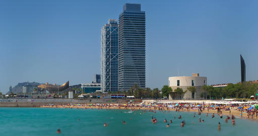Beaches and architecture of Barcelona city.Time lapse Live Action
