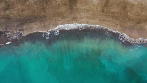 Top view of the desert beach on the Atlantic Ocean. Coast of the island of Footage