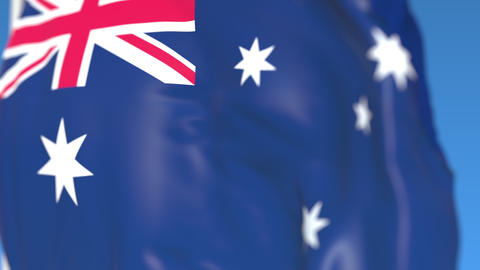 Waving national flag of Australia close-up, loopable 3D animation Footage