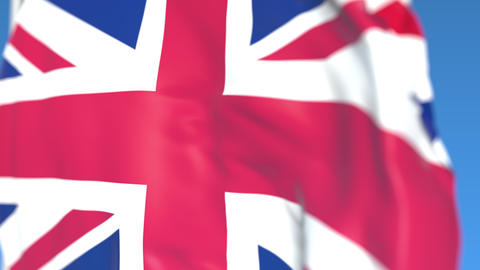 Flying national flag of Great Britain close-up, loopable 3D animation Live Action