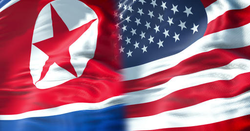 half north korea flag and half united states of america flag, crisis usa states diplomacy and north Footage