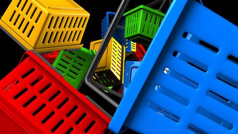 Shopping baskets on black background Animation