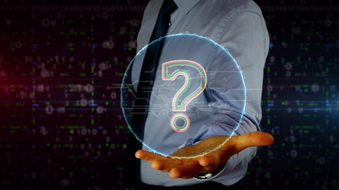 Businessman with question mark symbol hologram Footage
