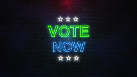 The word VOTE NOW with neon colours flickering on brick wall Animation