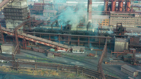 Aerial view. Metallurgical industry. Smoke pipes Footage
