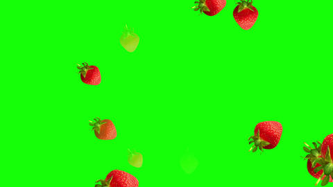Beautiful strawberries falling down against green background Animation