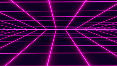 Purple retro-futuristic 80s synthwave grid looped background Animation