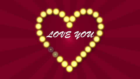 Love heart flashing blubs on red looped sunbeam background Animation