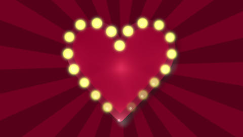 Big Love heart flashing blubs on red sunbeam background, retro style neon light. Loop animation Animation