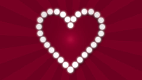 Retro style love heart flashing blubs on red looped sunbeam background Animation