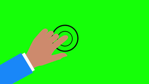 Asian Cartoon Style Hand Touch Animation on Green Background Animation