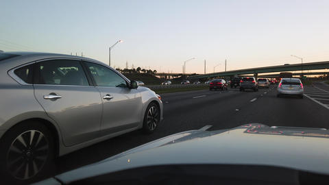 POV From Car Interstate Traffic During Rush Hour Live Action