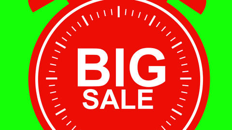 Big red sale alarm clock animated on green background. Seasonal sales offer banner. 4k Animation