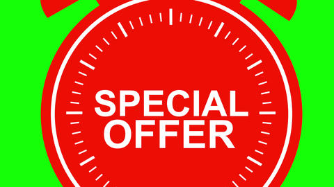 Big red special offer alarm clock on green background Animation