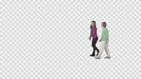 Sister and brother are walking, talking, laughing. Background in alpha channel Live Action