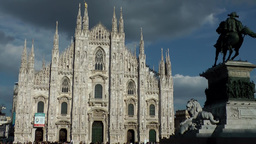 Europe Italy Lombardy Region Milan 011 front side of the old Gothic cathedral wi Footage
