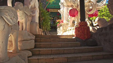 Stairs to Large White Elephant Statue in Buddhist Temple Footage